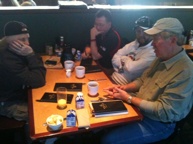steve on the right in the khaki hat holding court with me, terry brown and todd hammill of wired2fish