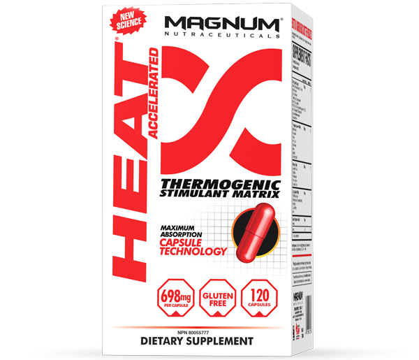 Magnum Heat - Magnum Heat Accelerated combines 30 fat-incinerating ingredients to support the optimal environment to burn fat. This product will have you firing on all cylinders! Infusing thermogenic agents and natural stimulants, Magnum Heat Accelerated raises the body's core temperature to promote fat loss.• Improved energy & mental focus• Increased body temperature• Permanent fat-loss, not just while you are on the product