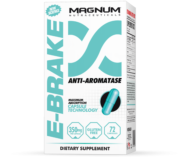 Magnum E-Brake - Magnum E-Brake is a powerful compound that decreases estrogen in your body at lightning speed. It is specifically formulated to slow estrogen product with extreme precision. The benefits of reduced estrogen include:• Increased strength• Enhanced muscle growth• Reduced recovery time• Decreased water weight