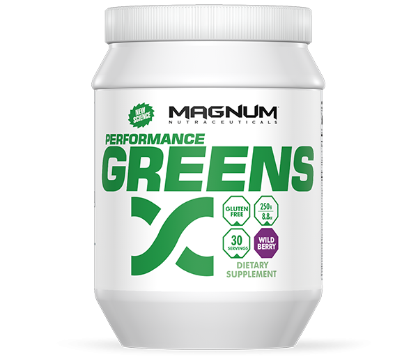 Magnum Greens - Available in: Wild BerryMagnum Performance Greens is an advanced Greens and Phytonutrient formula. With over 75 High-Grade, Organic ingredients, Performance Greens offers your body a unique blend to help function at its best.• Increase energy support• Regulate stress• Support improved sleep• Balance pH• Promote healthy aging
