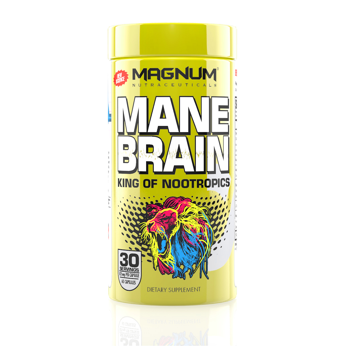 Magnum Mane Brain - The King of Nootropics, designed for all types of people. Athletes, Students, Professionals, Gamers, Competitors… enhance your brain power and keep up with your active lifestyle.• Maximizes Focus• Improves Memory• Boosts Brain Energy• Increases Clarity