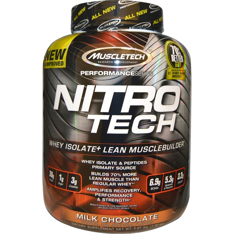 MuscleTech Nitro Tech - Available in: Chocolate, Vanilla, StrawberryNITRO-TECH contains protein sourced primarily from whey protein isolate and whey peptides – two of the cleanest and purest protein sources available to athletes. It is also enhanced with the most studied form of creatine for serious gains in muscle and strength. A single scoop of NITRO-TECH® contains 30g of protein, primarily from whey protein isolate and whey peptides, with only 1g of sugar and 2.5g of fat! Most protein powders deliver significantly less protein per scoop, while some protein formulas are loaded with fat and carbs. The protein in NITRO-TECH has been filtered using Multi-Phase Filtration Technology for less fat, lactose and impurities than cheaper protein sources.