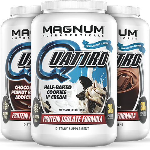 Magnum Quattro - Available in: Chocolate, Vanilla, Chocolate Peanut Butter, Salted Caramel, Fruity HoopsMagnum Quattro is a 4 isolate, time-released, smooth digesting protein. With no lactose and a combination of 4 high-quality isolates and essential fats like flaxseed.• Every ingredient is Pharmaceutical Grade• It has only Isolate proteins (the highest quality and form of protein – better digestion, absorption, and results)• It has 4 different sources of Isolate protein for timed digestion• It has added Flaxseed for essential fatty acids and protein assimilation• There is more protein per scoop than almost any product available today• It will give you more sustained energy throughout the day