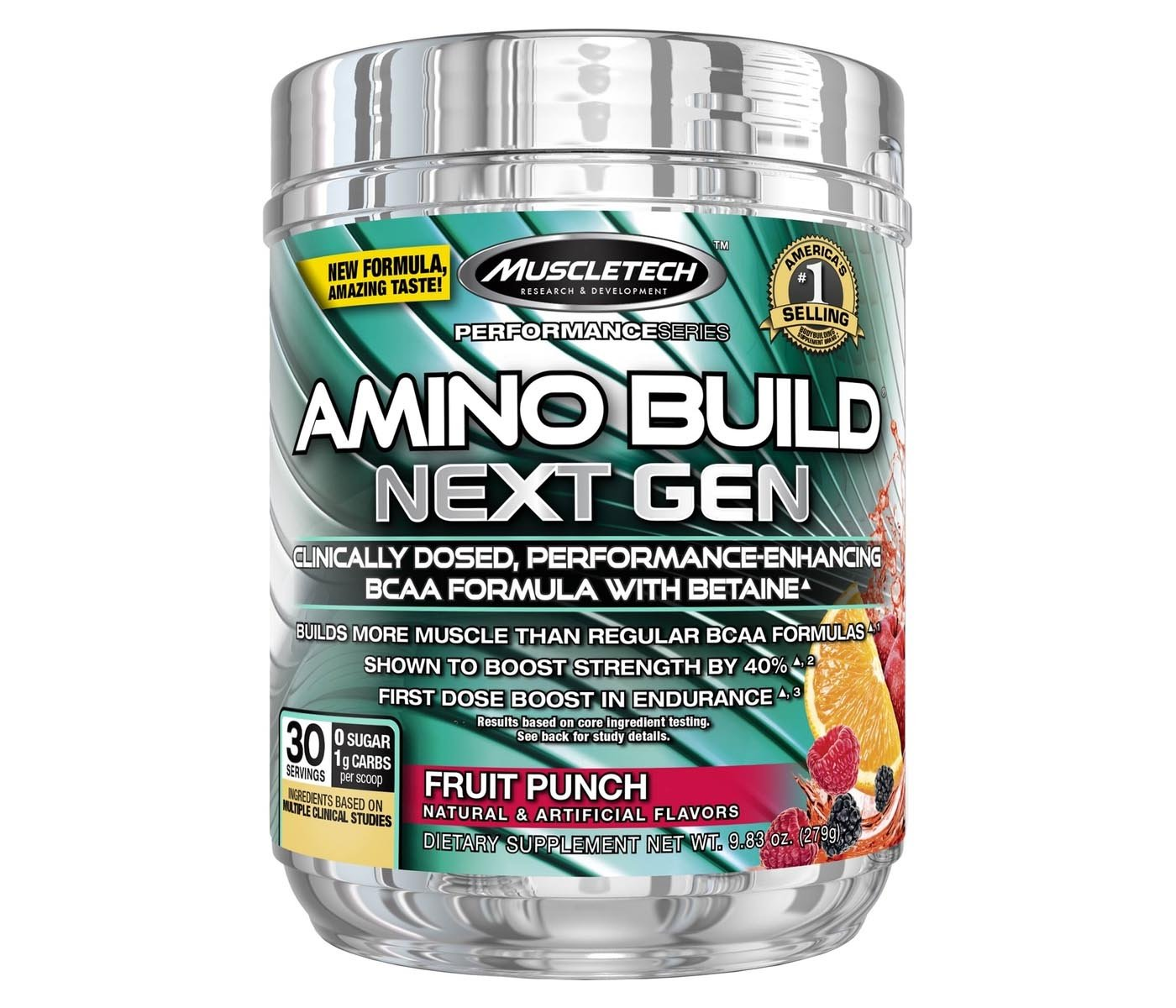 MuscleTech Amino Build - Available in: White Raspberry• Builds more muscle than regular BCAA formulas• Features 8g of 2:1:1 instantized aminos• Shown to boost strengthBCAAs are comprised of three powerful amino acids – leucine, isoleucine and valine – and are perfect for any hard-training athlete because they serve as primary building blocks for muscle and help combat muscle loss and protein breakdown, especially during intense training.