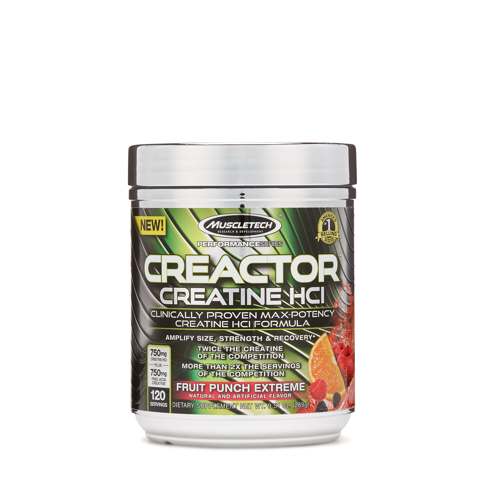 MuscleTech Creactor - Available in: Fruit Punch, Icy Rocket Freeze• Amplify size, strength & recovery• No loading or bloating• More than 2x the servings of the competition• Twice the creatine of the competitionCreactor rapidly enhances your muscle cells' ability to regenerate adenosine triphosphate (ATP). ATP is your primary source of anaerobic energy, so you can recovery faster between sets.The powerful creatine molecules in Creactor are changed into a molecule called phosphocreatine, which serves as a storage reservoir for regenerating ATP. With higher ATP levels, you'll be able to train harder and recover faster, and that means bigger and stronger gains!