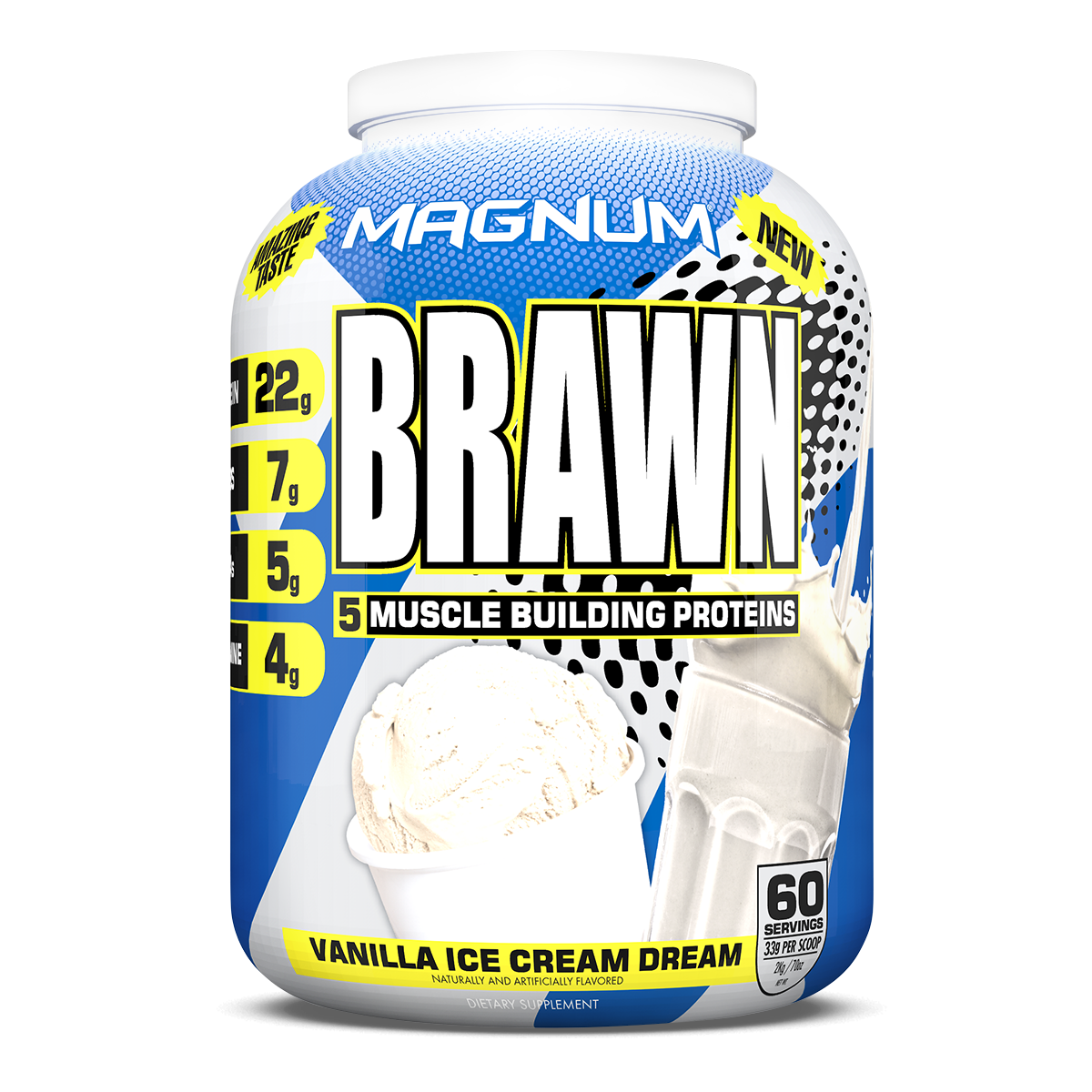 Magnum Brawn - Available in: Chocolate, VanillaMagnum Brawn was formulated with the best sources of high quality proteins, resulting in a shake that mixes smoothly and tastes incredible.• Every ingredient is Pharmaceutical Grade• It's formulated with 5 different forms of complex carbs to assist recovery and ensure your protein is being used to build lean muscle.• Easy on the stomach due to it's low lactose levels.• Added MCT oil to contribute to an optimal metabolic rate and better energy post workout.• Magnum Brawn is effective, affordable, and exactly what you need to boost your strength, build more muscle and recover much faster!