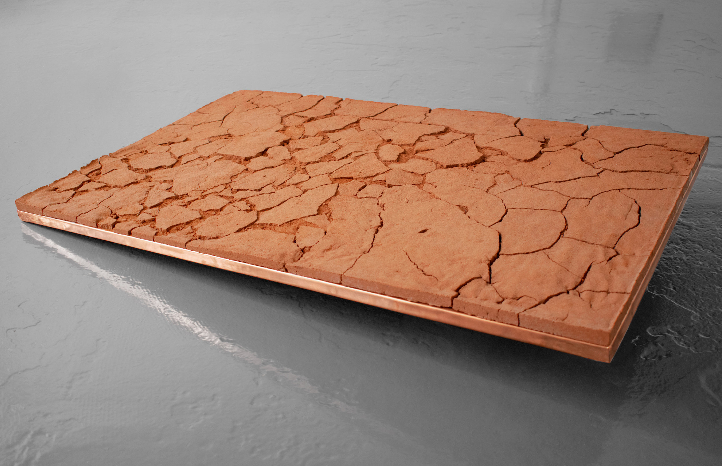 The Land Upon which we used to Lay  Casting sand on copper and ply. 53,5 x 89 cm. 2019