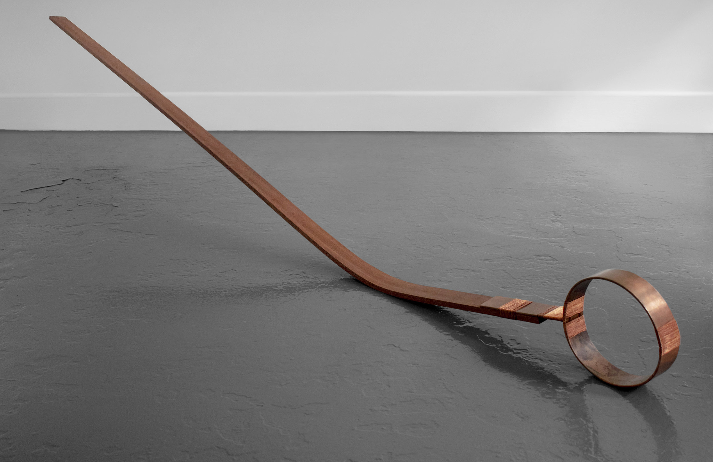 Hold me Down  Weaved copper on steam bent Sapele wood. 80 x 200 x 5 cm. 2019