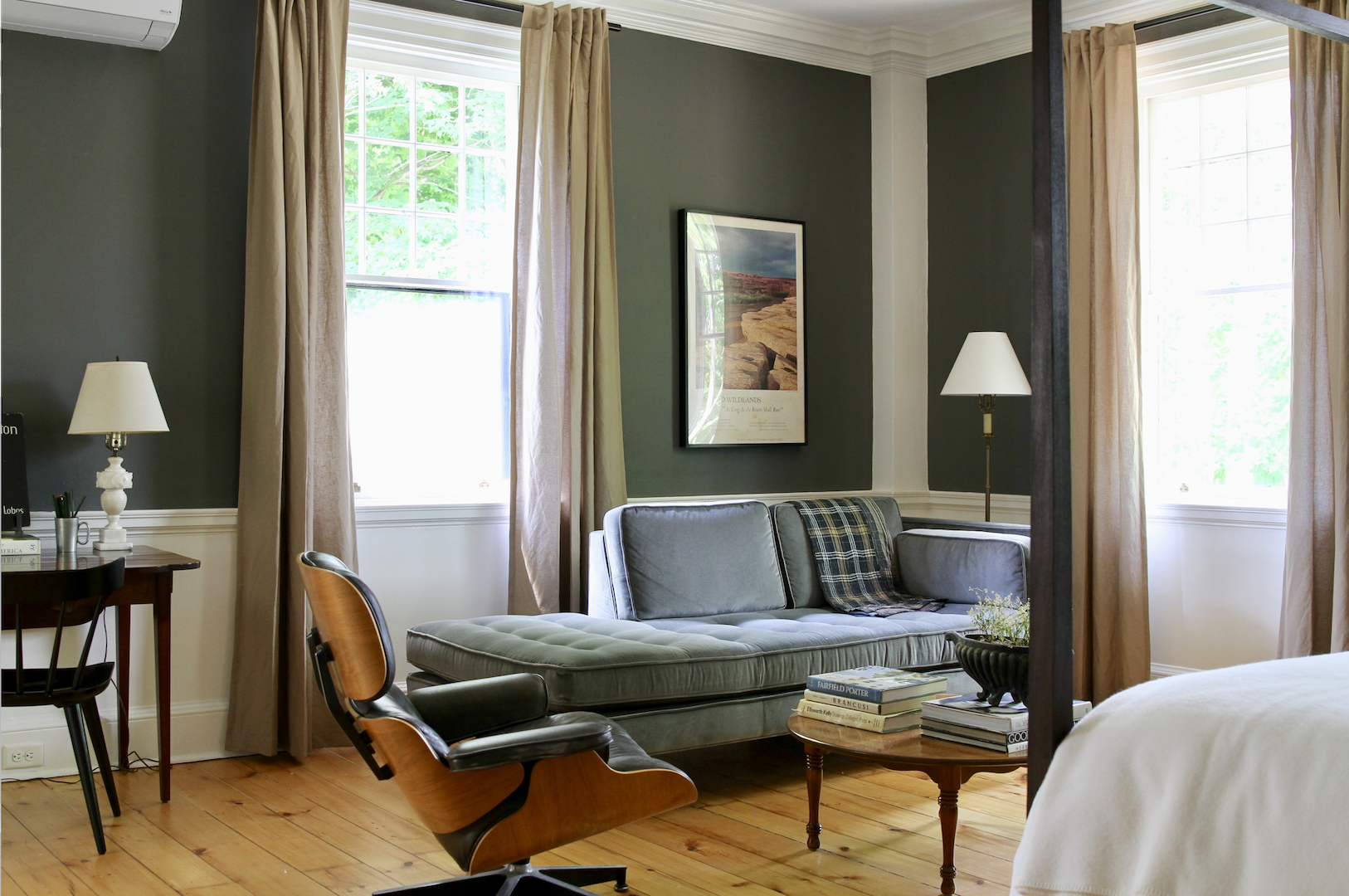 Room Three   A velvet sofa/chaise and a vintage Eames lounge chair are the perfect place for reading or daydreaming.