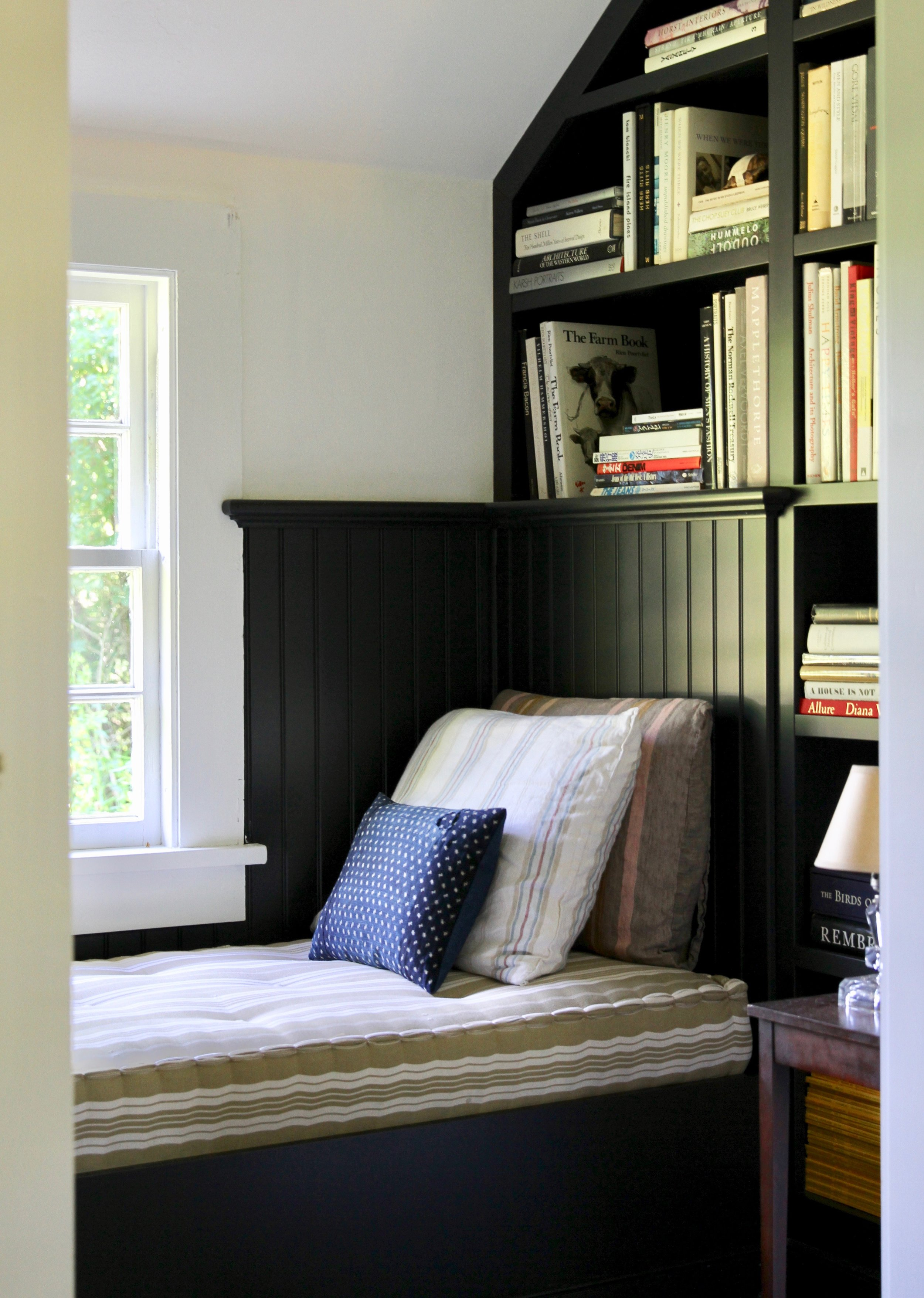 """Carriage House Cottage   A reading alcove, or """"nook"""" is the perfect spot to curl up and read, daydream, or just gaze out the window to the back fields."""