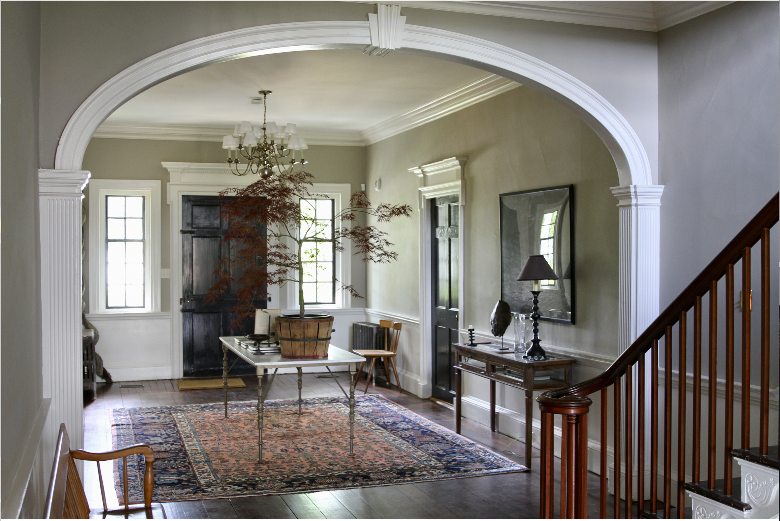 """Center Hall, front entrance.   Kenmore's """"halls"""" are twelve feet wide and run the depth of the house, both upstairs and down. It makes for a gracious entrance."""