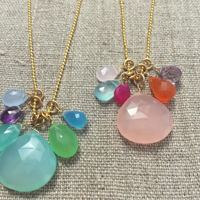 Multi stone long necklaces on their way to @waterperrygardens #rosequartz #aventurine