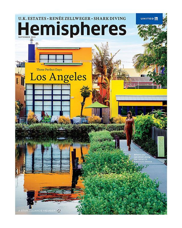 """New feature and cover for @hemispheresmag capturing my very own Los Angeles. ❤️  It was a whirlwind assignment flying up and down the boulevards and freeways of LA — from Venice Beach to Highland Park — to photograph some iconic spots (and some grungy, off the beaten path stuff too!). Read Justin Goldman's journey around """"L.A.'s most iconic beaches, brunches and bowling alleys in a cobalt Chevy Volt."""" #NailedIt Link in bio.  Thank you @jessieadler for trusting me with this epic assignment that allowed me to rediscover my own city, and @karenmcbags for spot on modeling skills and zen-link patience during traffic jams.   Look for it in the seat pocket in front of you on your next @united flight.  #hemispheres #united #losangeles #threeperfectdays  """