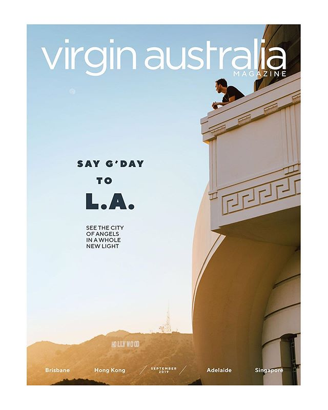 """For my second Los Angeles cover story this month, I photographed LA-based Aussie photographer and artist @george_byrne for Virgin Australia Magazine.  It was fun to bounce around and photograph a fellow LA photographer (a first for me!) and explore some of our favorites east side spots together. We started the day at @themanufactoryla for coffee, then stopped by @shophemingway in Silver Lake to browse menswear. Later, we grabbed a few shots at George's studio in DTLA Arts District and then had lunch at Dune in Atwater. In the afternoon, we checked out the galleries at @thebroadmuseum before wrapping up at Griffith Observatory just in time for one of SoCal's trademark magic hour sunsets where this cover image was shot. How rad that just a """"normal"""" day in LA could be a magazine cover story! Words by the talented @missmarthahayes.   If you're in NYC, check out George's new exhibit currently showing at @olsengruin.  #virginaustralia #georgebyrne #griffithobservatory"""