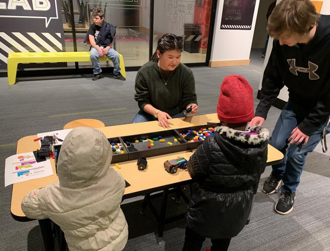 ROC members and recently resettled children play at the KVCC Museum, Spring 2019