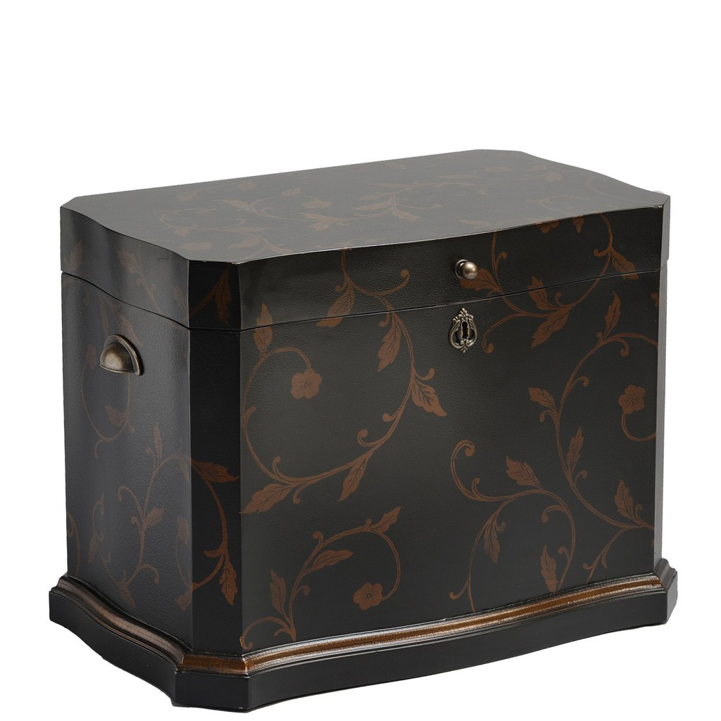 """The Athenian Life Chest™ - Majestic curves and a thick gold painted border embrace this elegantly shaped Life Chest.Enveloped in a stylish hand-painted gold foil leaf design and leathered exterior finish, the interior is lined in lush chocolate-colored velvet.The Athenian includes three vertical dividers and a removable sectioned tray to house precious Life Chest mementos.Dimensions: 25"""" W x 17"""" D x 17.5"""" HWeight: 38 lbs."""