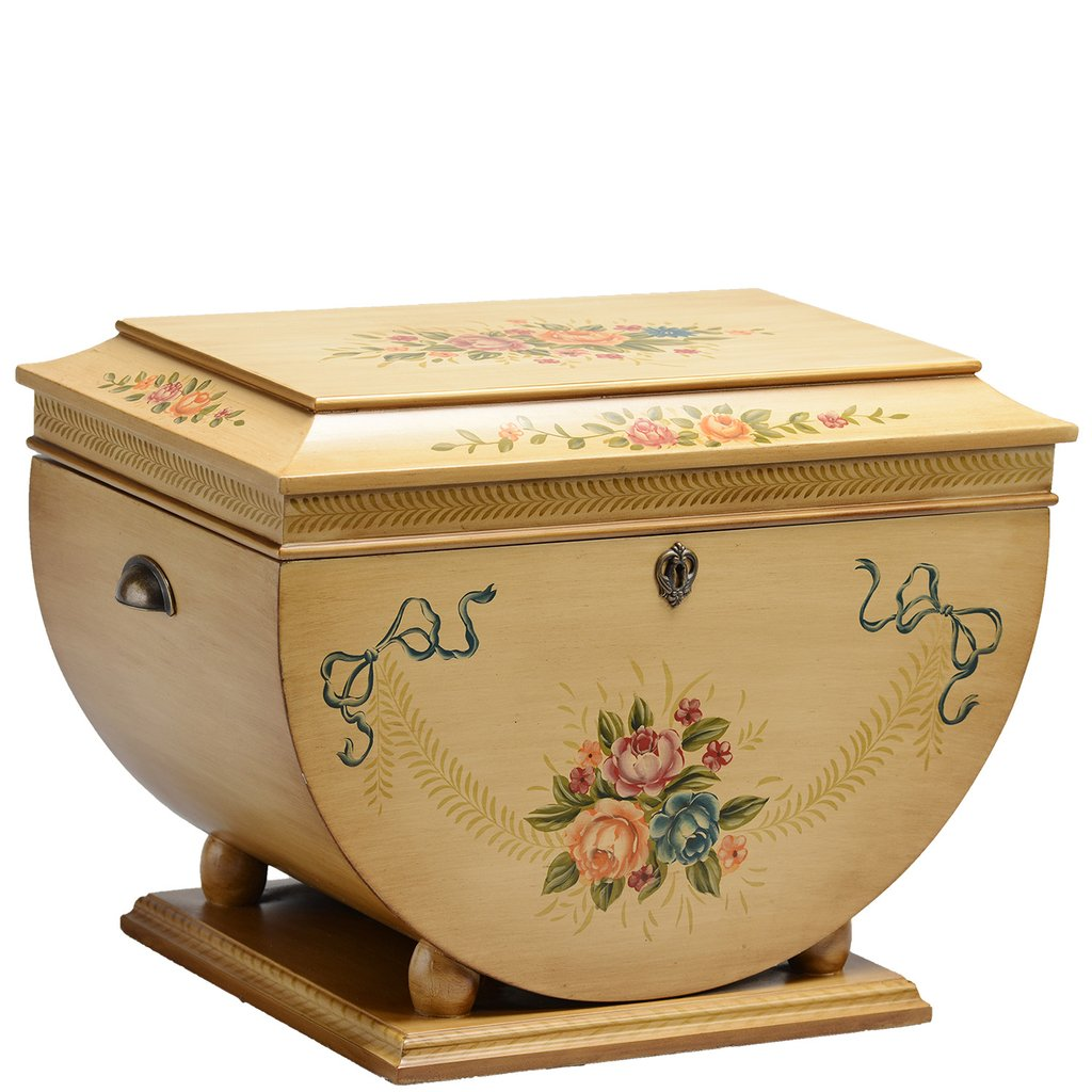 """The Colonial Life Chest™ - Delicate hand-painted Victorian floral designs on a rubbed honey sage exterior grace this uniquely shaped Life Chest that rests atop a square base.The Colonial features an interior photo frame and removable tray with three velvet vertical dividers to section special souvenirs. Rich velvet in warm coffee tones wraps the tray and all interior surfaces.Dimensions: 26"""" W x 16.5"""" D x 18"""" HWeight: 40 lbs."""