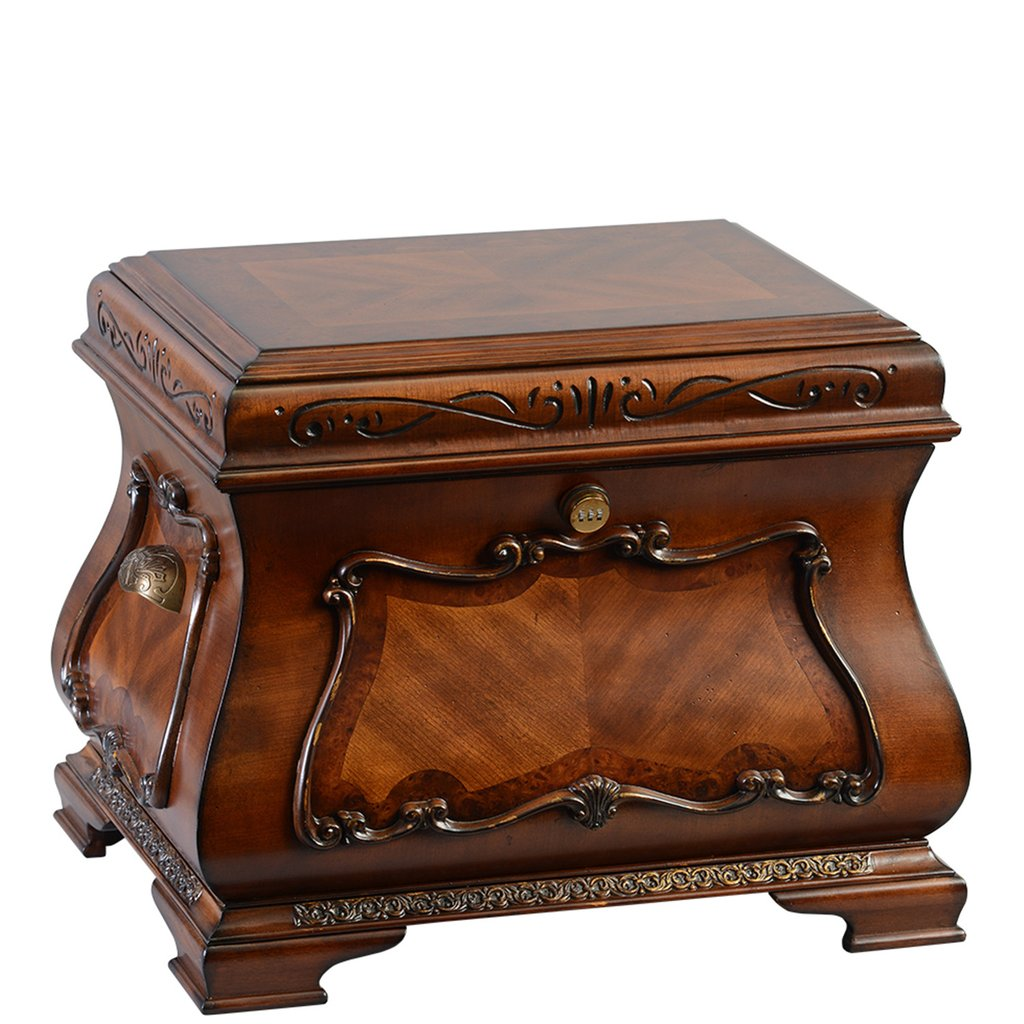 "The Eternity Life Chest™ - Antique cherry finish with intricate carved accents and burl inlays.The interior has velvet lined trays, one vertical divider, one horizontal divider, a marble floor, and a mounted photo frame.Dimensions: 24"" W x 18"" D x 19"" HWeight : 53 lbs."