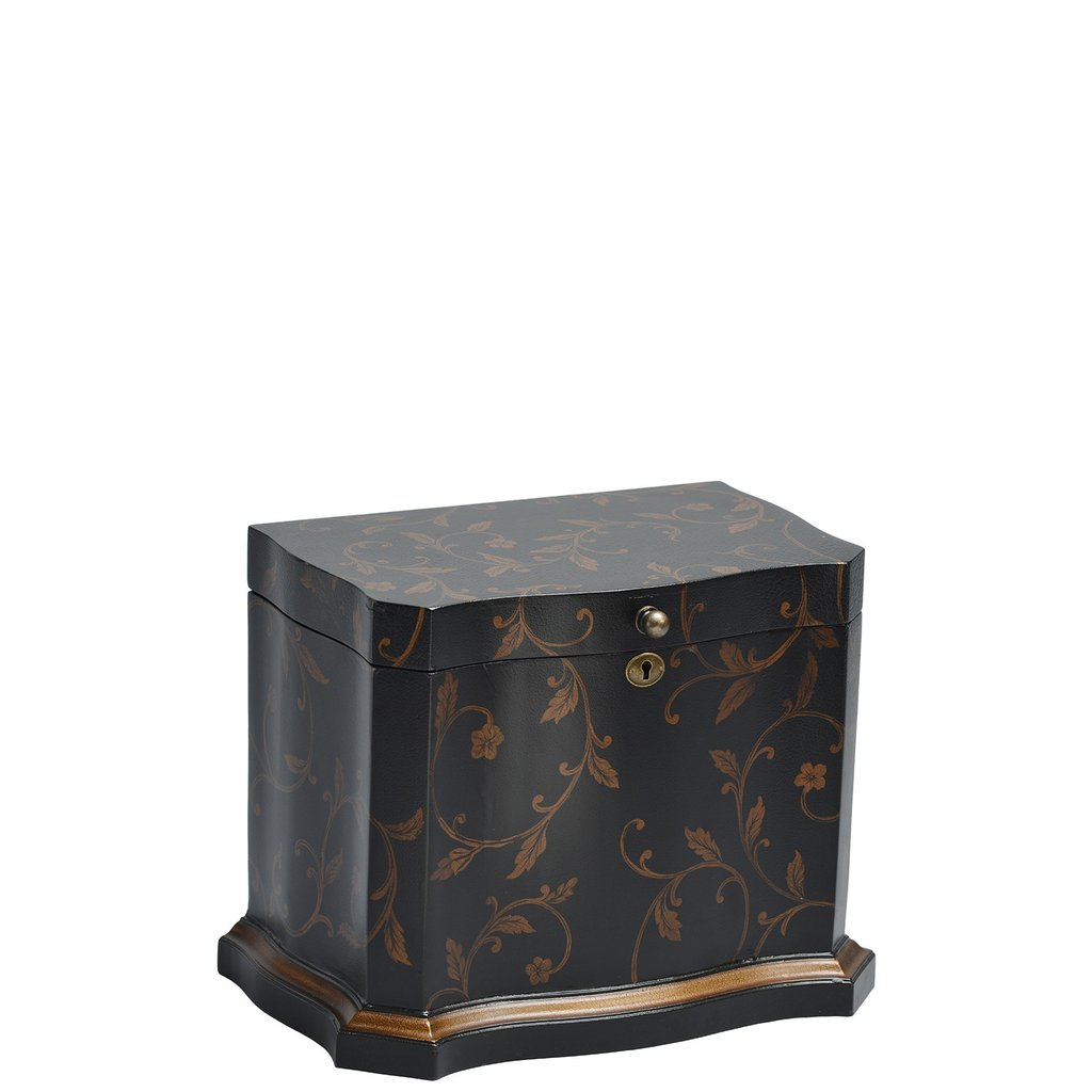 """Athenian Memory Life Chest™ - Majestic curves and a thick gold painted border embrace this elegantly shaped Life Chest. Enveloped in a stylish hand-painted gold foil leaf design and leathered exterior finish, the interior is lined in lush chocolate-colored velvet.Dimensions: 13""""W x 8"""" D x 6.25"""" HWeight : 15 lbs."""