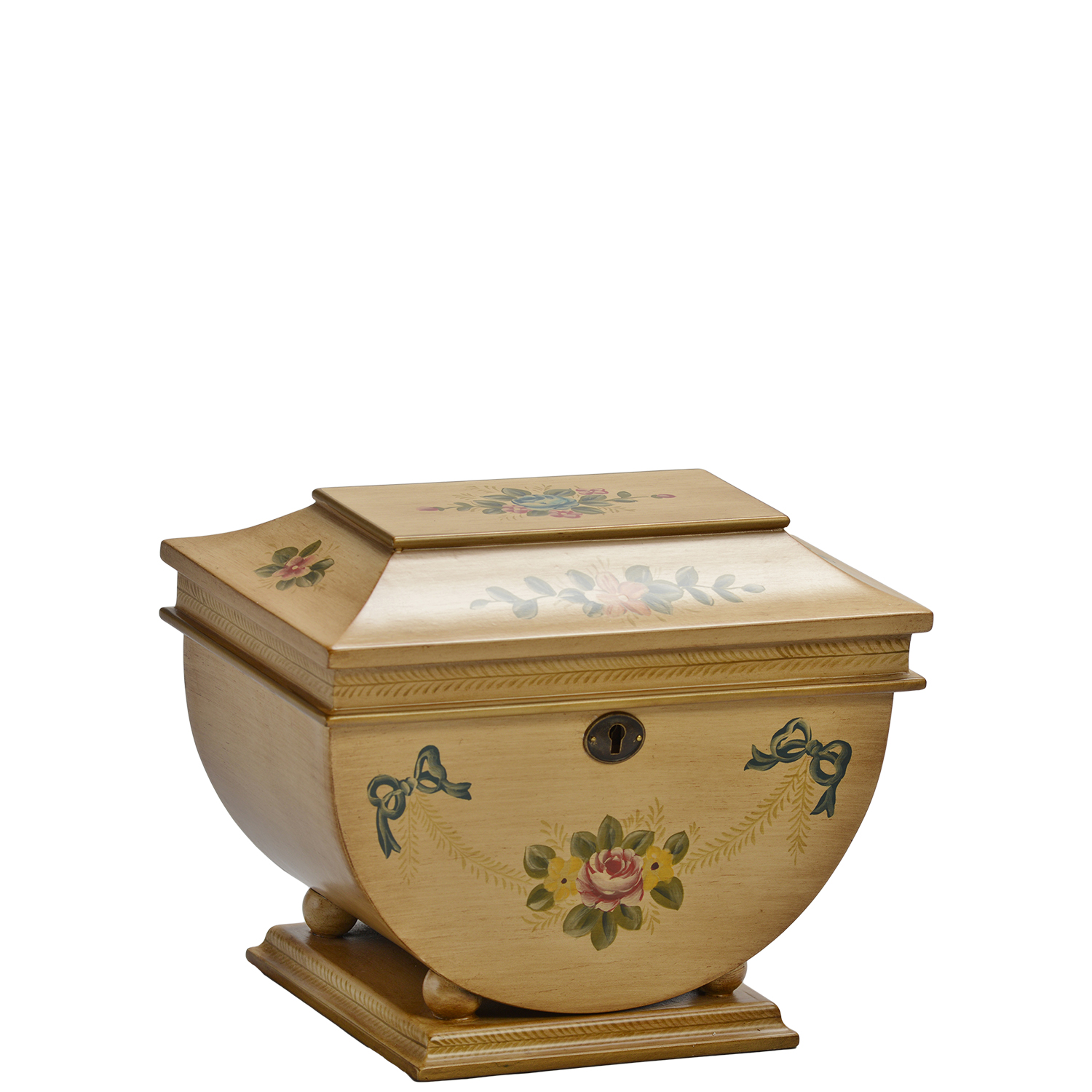 """Colonial Memory Life Chest™ - Delicate hand-painted Victorian floral designs on a rubbed honey sage exterior grace this uniquely shaped Memory Life Chest that rests atop a square base. Rich velvet in warm coffee tones wraps the interior surfaces.Dimensions: 11"""" W x 7"""" D x 8.5"""" HWeight : 5 lbs."""