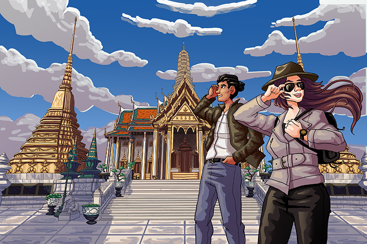 April and Elliot in front of the The Royal Pantheon in Bangkok