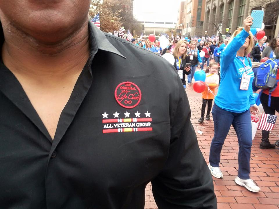 Mike Elliot - Life Chest Badge on Shirt - Snowball Express Parade - 2014 - The Life Chest
