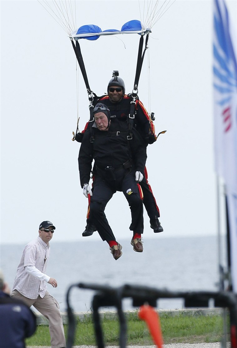 Mike Elliott with Former President George H.W. Bush Sr. After Their Tandem Jump on his 90th Birthday