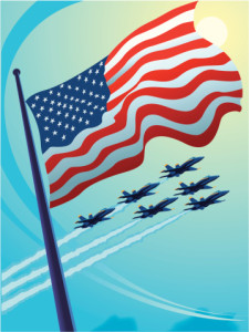 American Flag with Jets