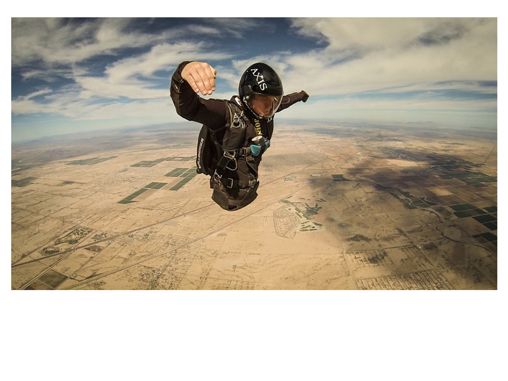 Todd Love during his grad jump over Skydive Arizona – flying in the head up orientation