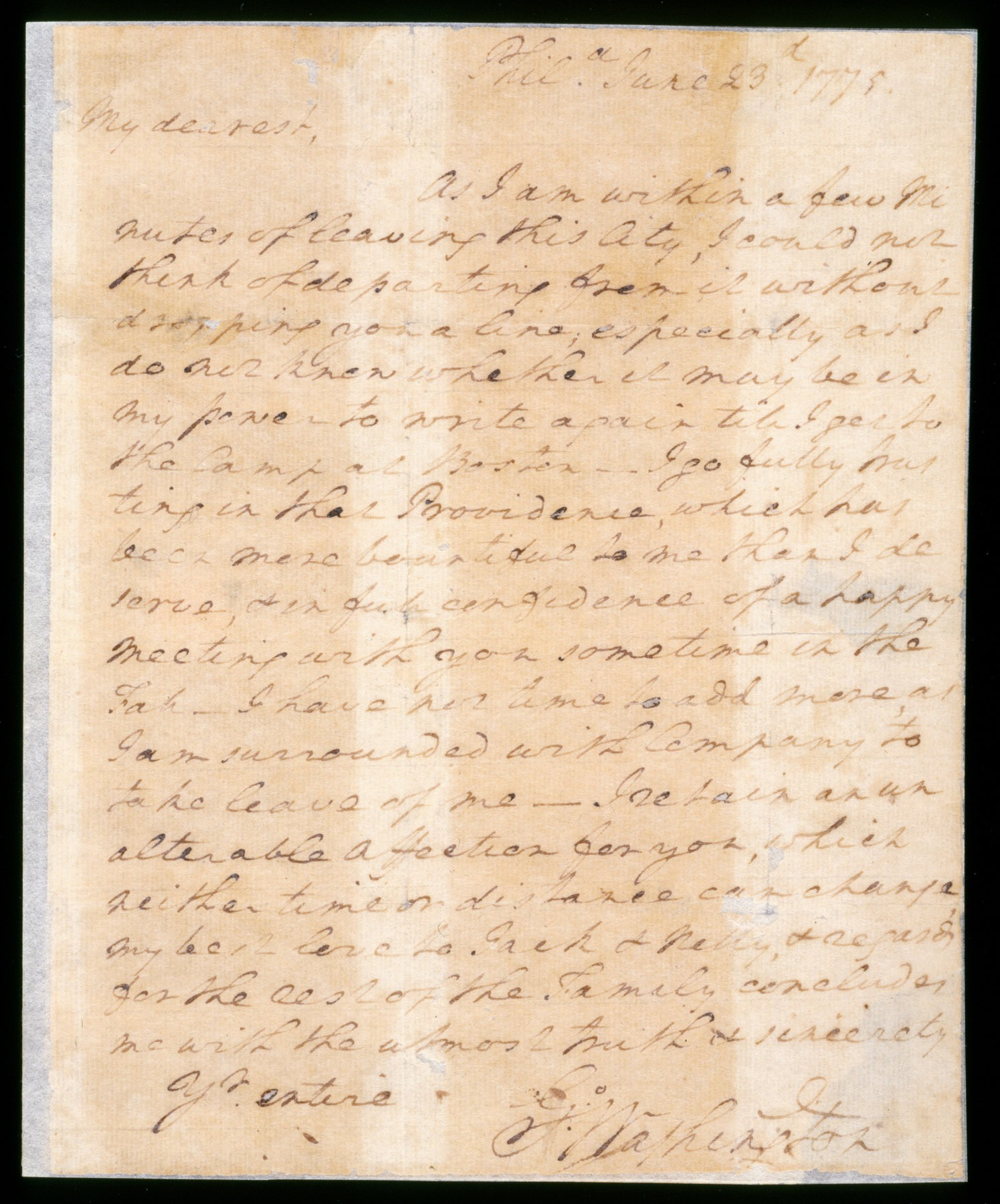 A love letter from George Washington to wife Martha