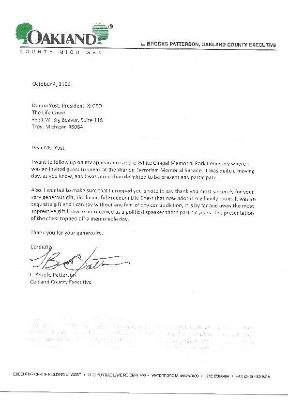 L Brooks Patterson Letter