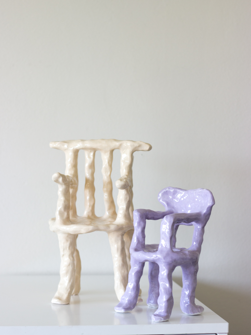 Chair # two + three  ceramic and clear glaze