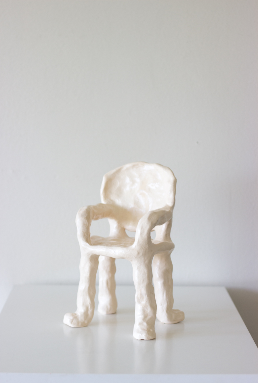 Chair # six  ceramic and satin varnish
