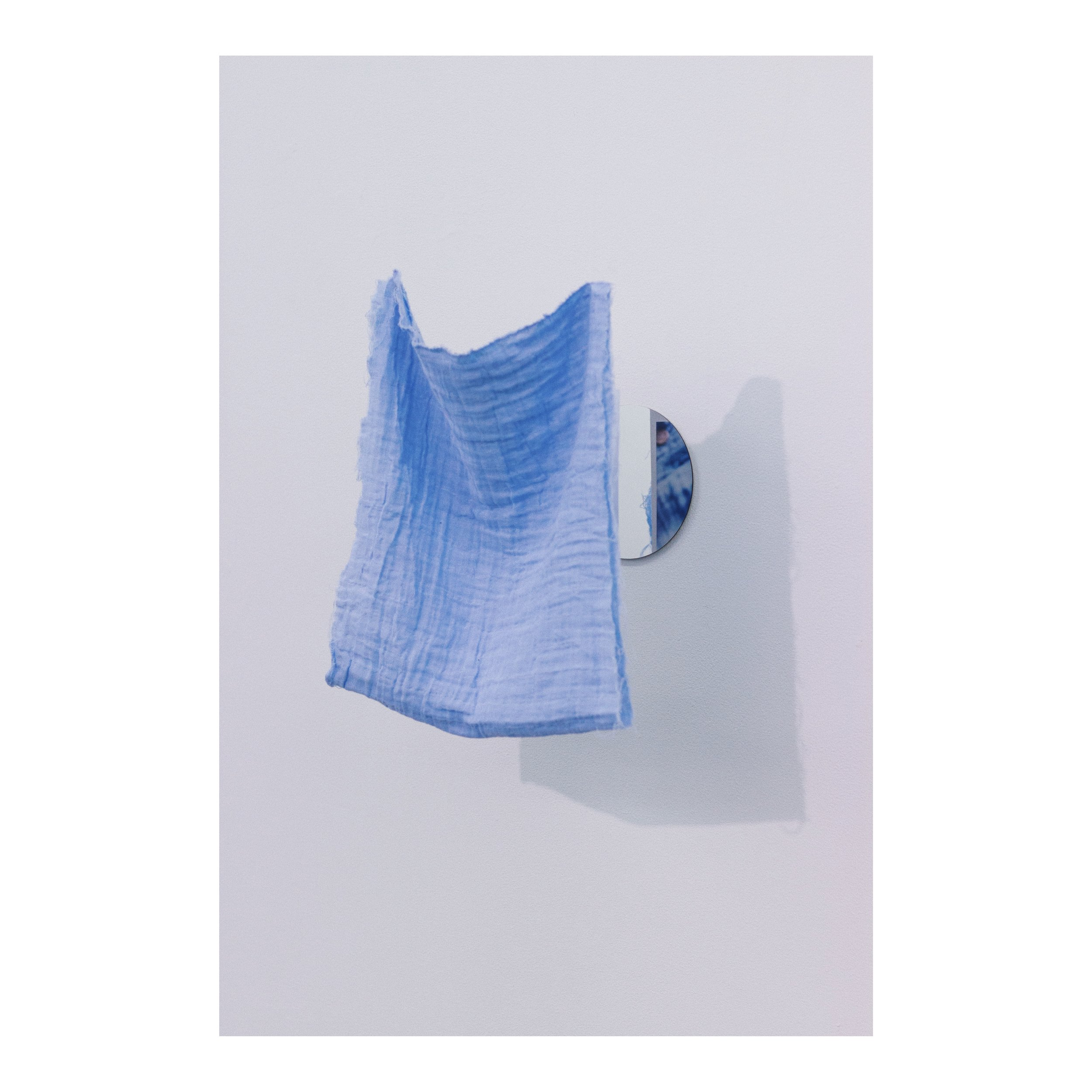 (untitled), ​ 2019     double gauze fabric, digital print, mirror