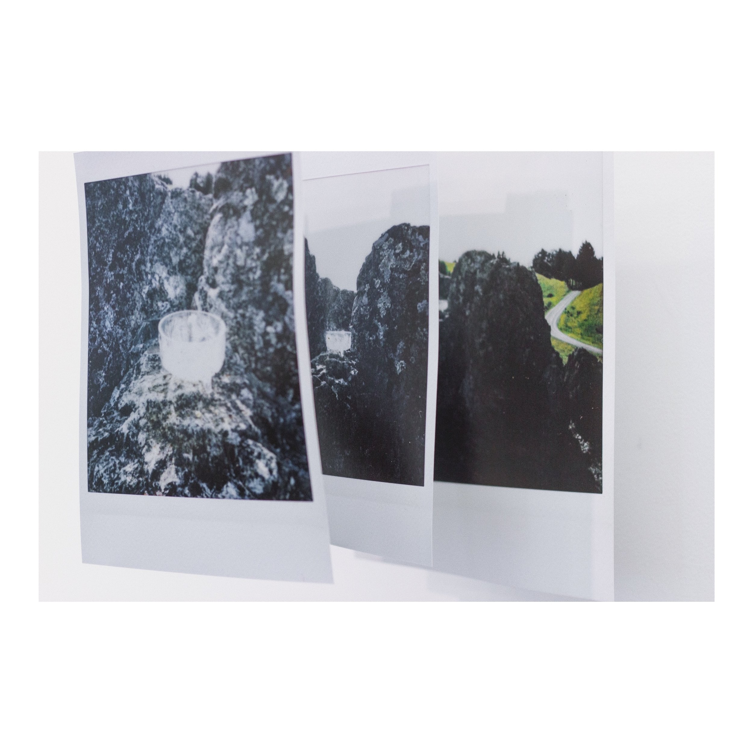 closer and closer now but start back at the beginning each time around not close enough to touch but close enough to reach and think about why you're reaching in the first place maybe take a step back, ​ 2019 digital prints, polaroid, gauze and thread