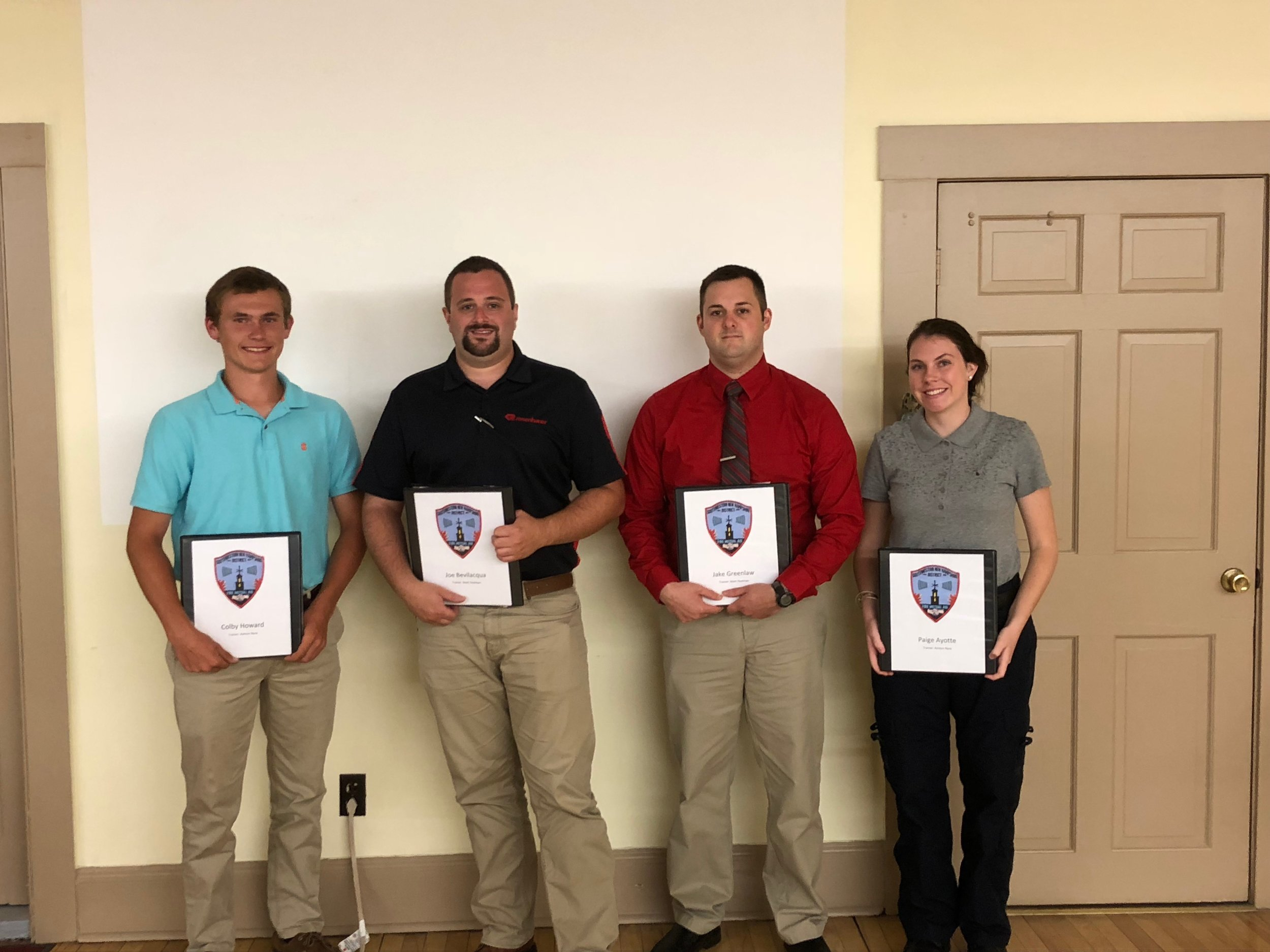 Today we had orientation for 4 new part time Dispatchers. Left to right, Colby Howard;Joe Bevilacqua, Jake Greenlaw and Paige Ayotte. Congratulations and best of luck to all of you.