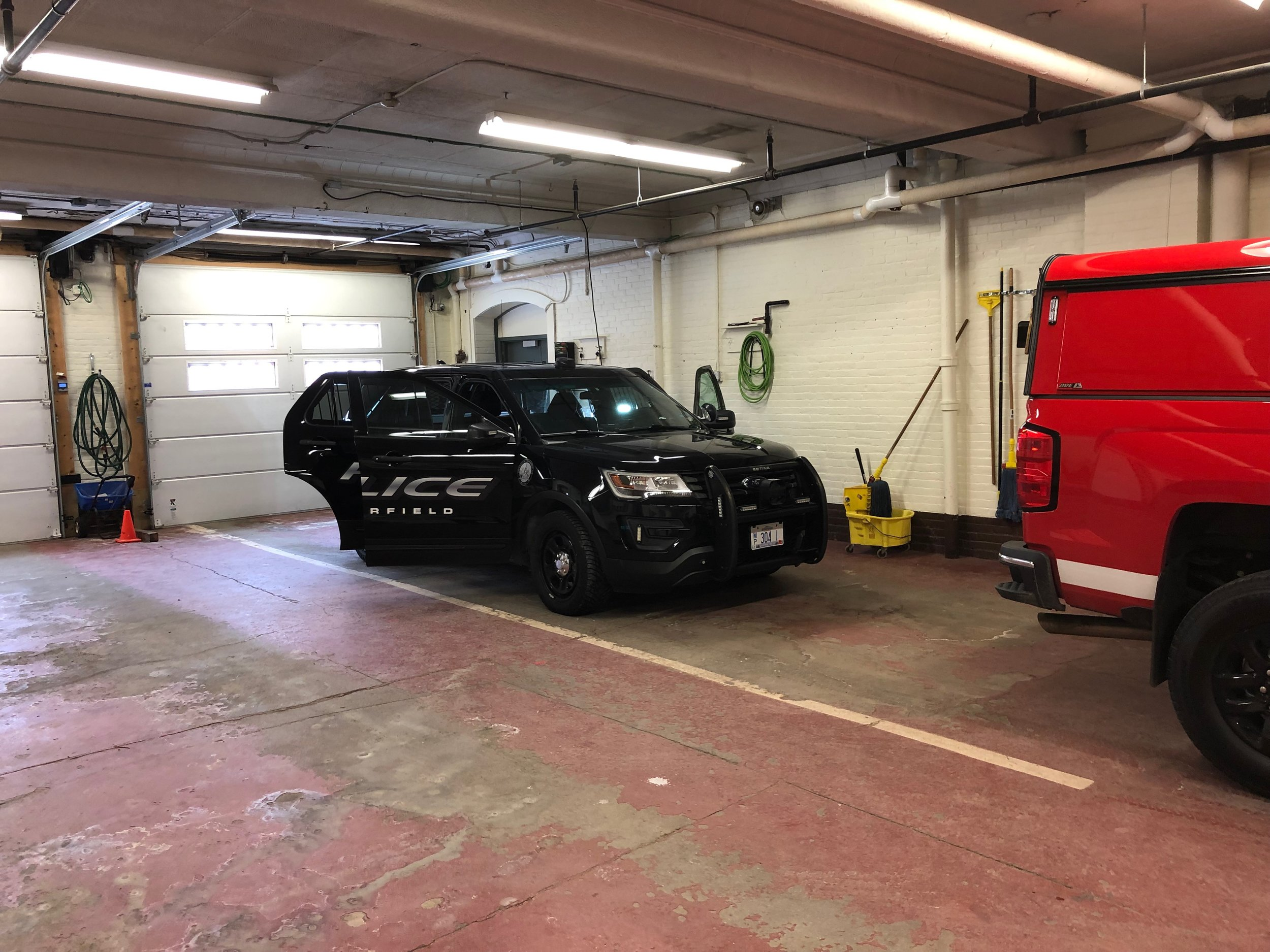 Chesterfield Police cruiser also in for some work.