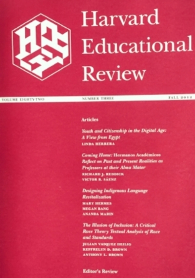 Herrera, L. (2012).  Youth and citizenship in the digital age : A view from Egypt. In  Harvard Educational Review , 82 (3), 333-353.