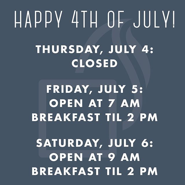 Happy 4th of July! We hope you have a fun and safe celebration. We will be closed on the 4th, but will reopen at 7 am on Friday the 5th. AND, we'll be serving breakfast til 2 pm on Friday! So whenever you roll out of bed, come grab a biscuit! . . . #breakfast #biscuit #biscuits #allbutter #allthetime #4thofjuly #richmond #rva #rvadine #rvafood