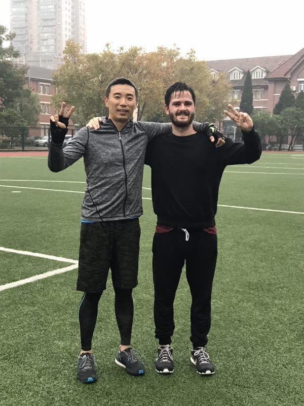 Alfie (right) at Sino-British College, Shanghai