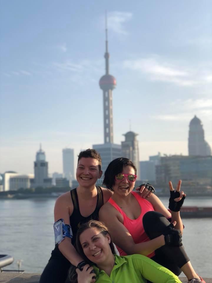Leyfa, Morgane and Hannah on The Bund