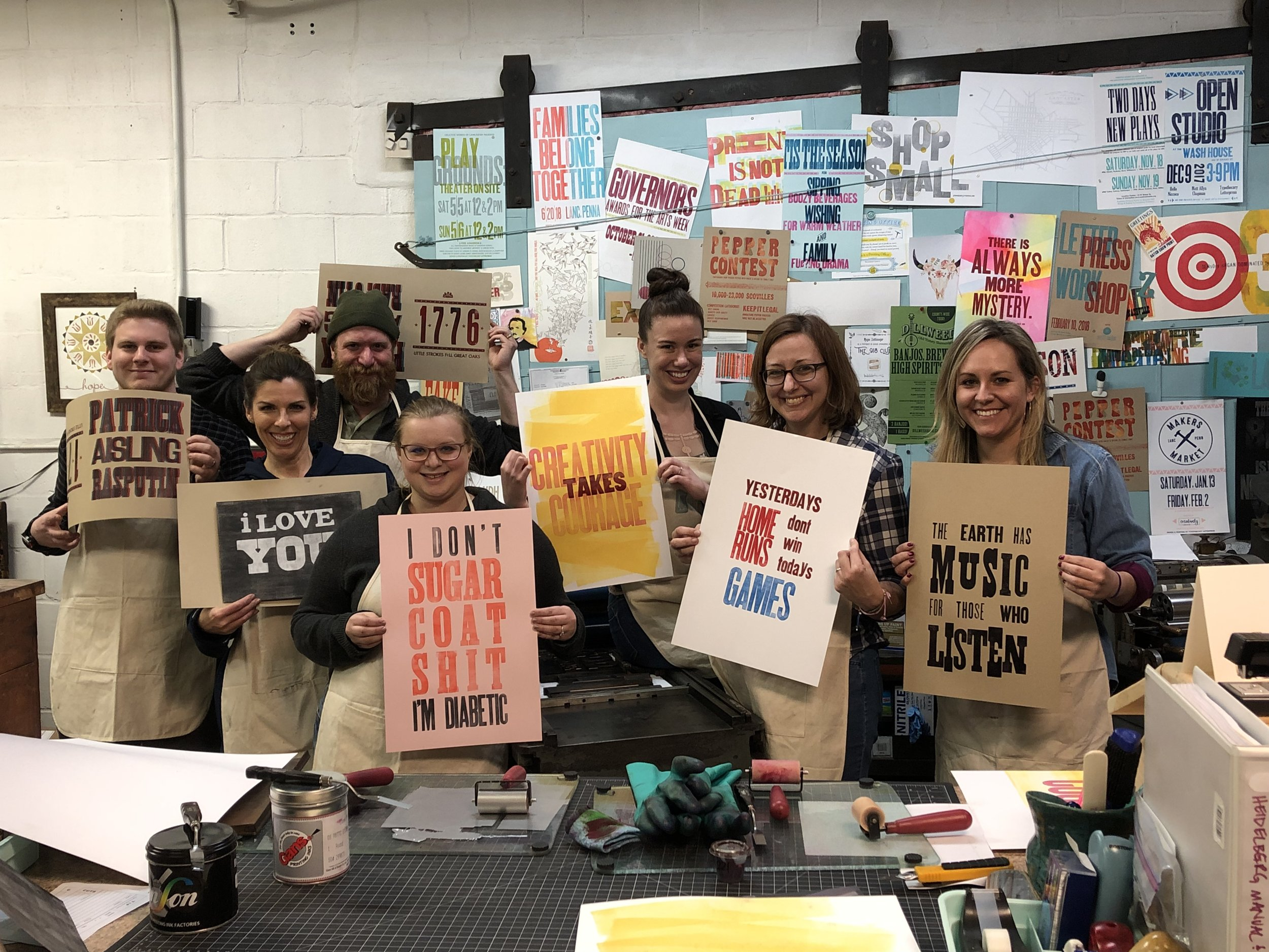 Team Building - Experience the art of letterpress printing while having some fun with your team and investing in the future of your company at the same time.
