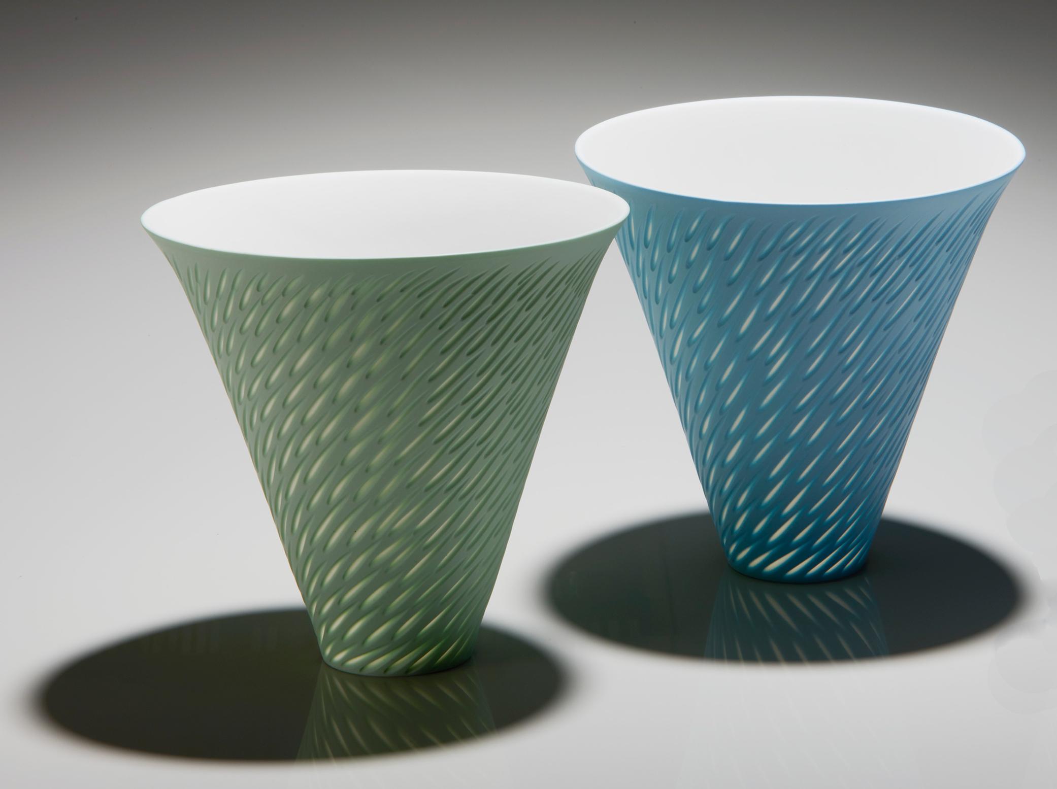 Mint Green, Azure Blue Flared Rim - tall 20 cm h