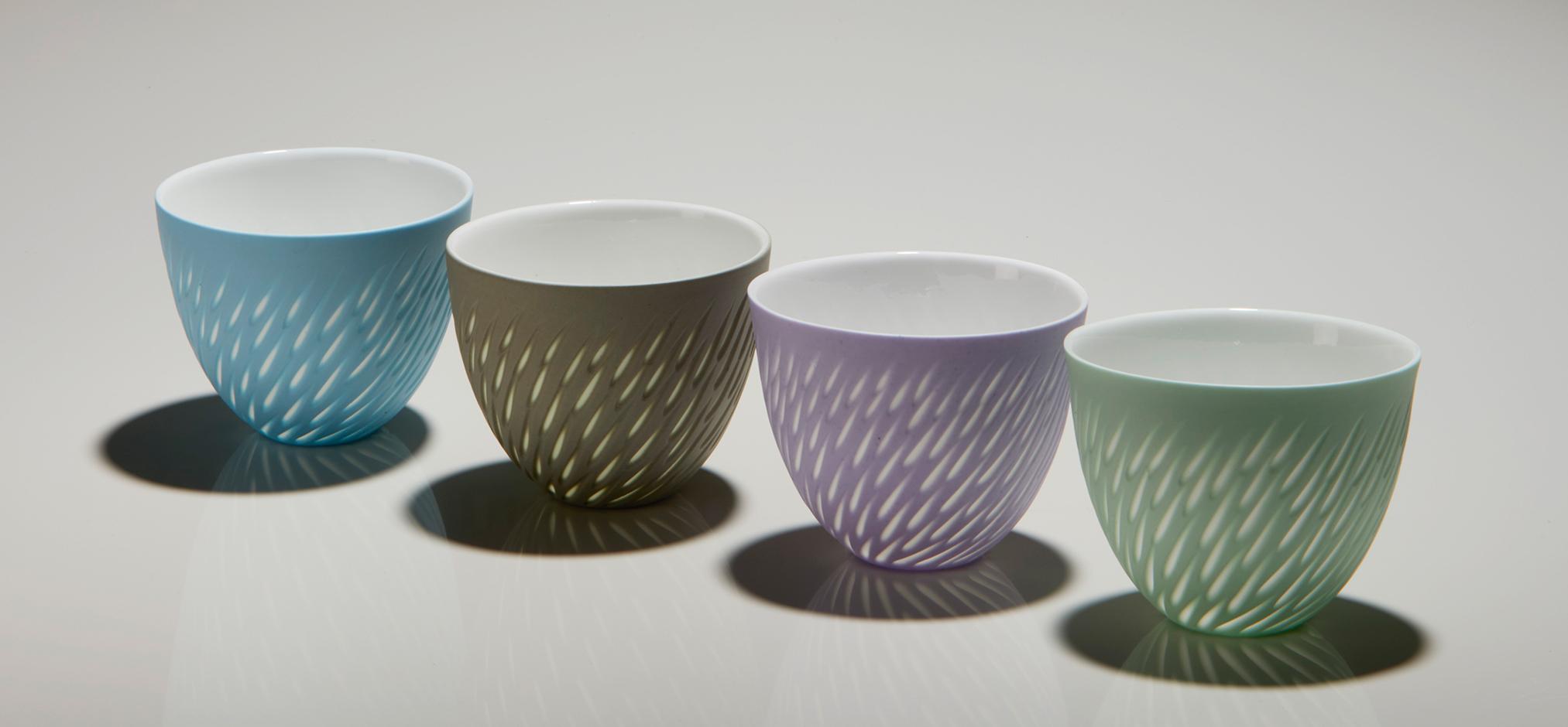 Azure Blue, Sepia Taupe, Soft Lavender, Mint Green - 6 cm h