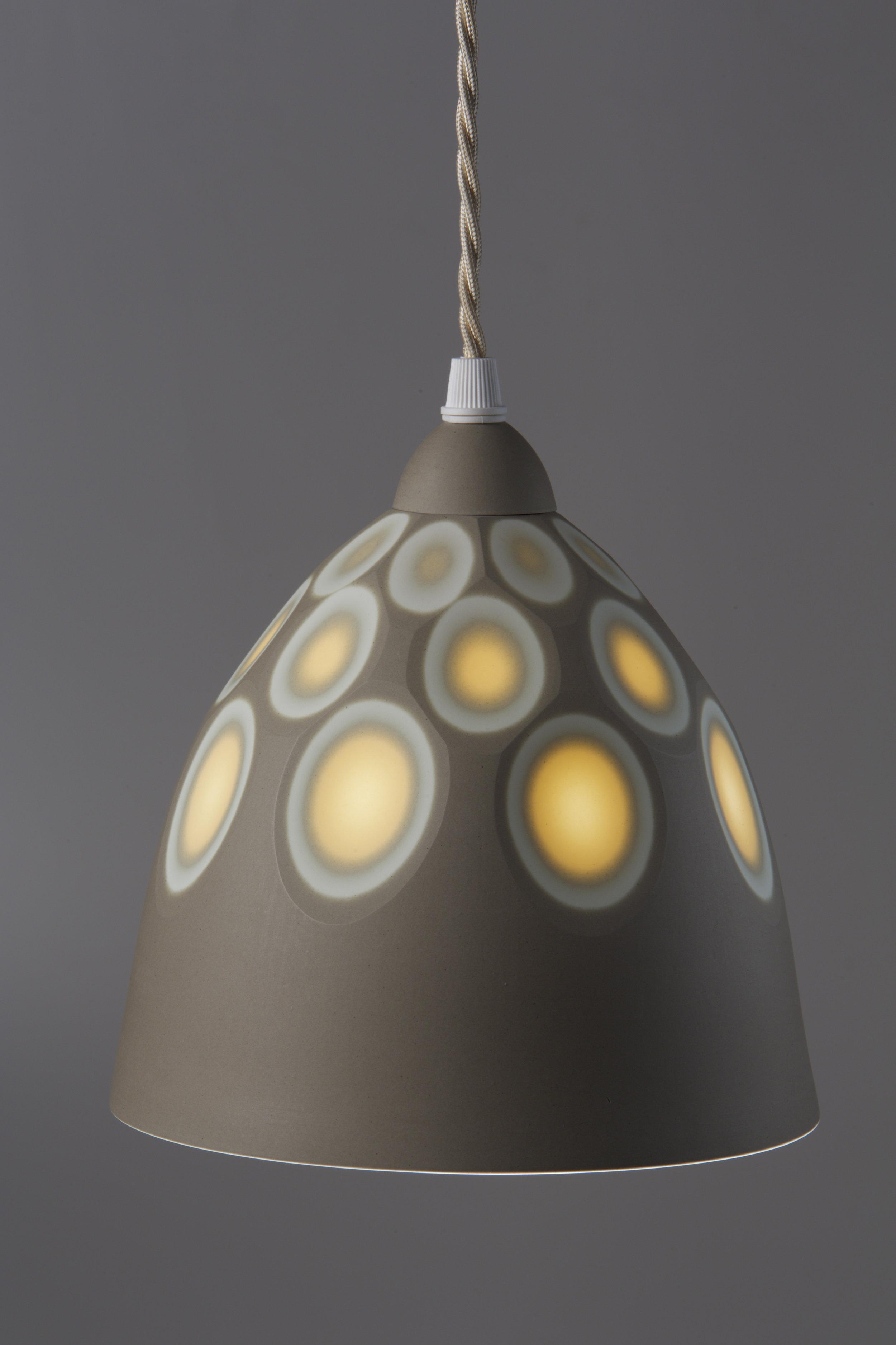 Small Sepia/Mandarin Yellow 'Space' pendant - 12 cm h