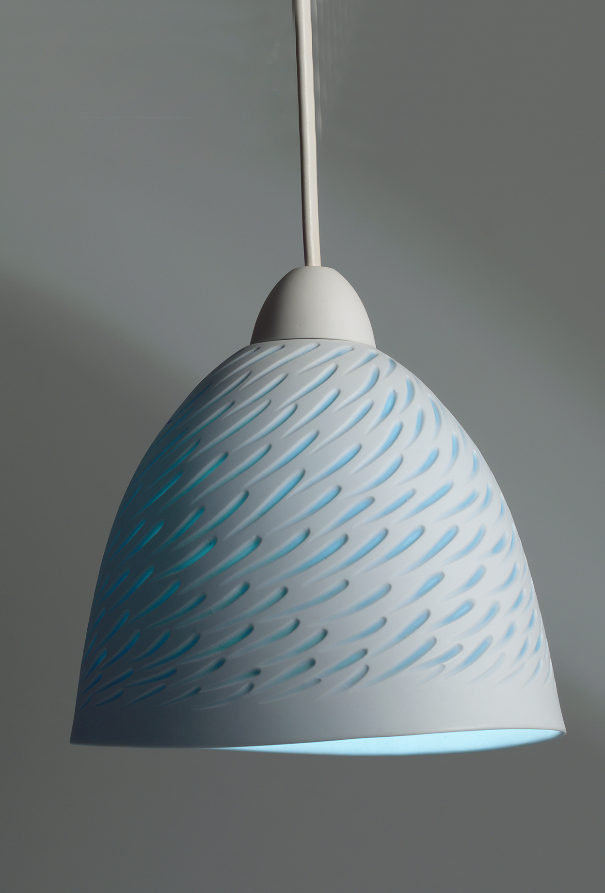 Medium white and Azure Blue 'Shoal' pendant  - 20 cm h