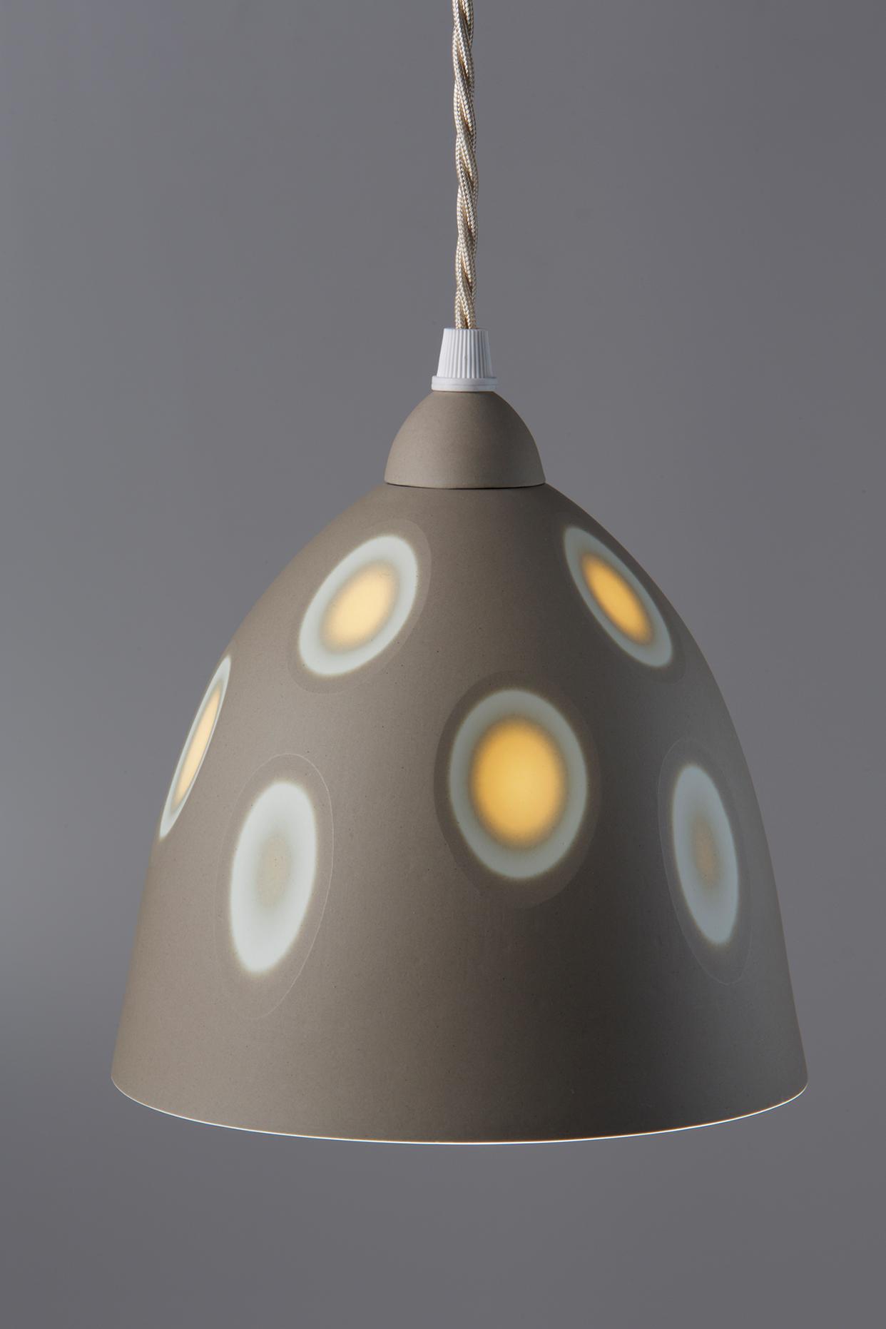 Medium Sepia/Mandarin Yellow  'Space' pendant - 20 cm h