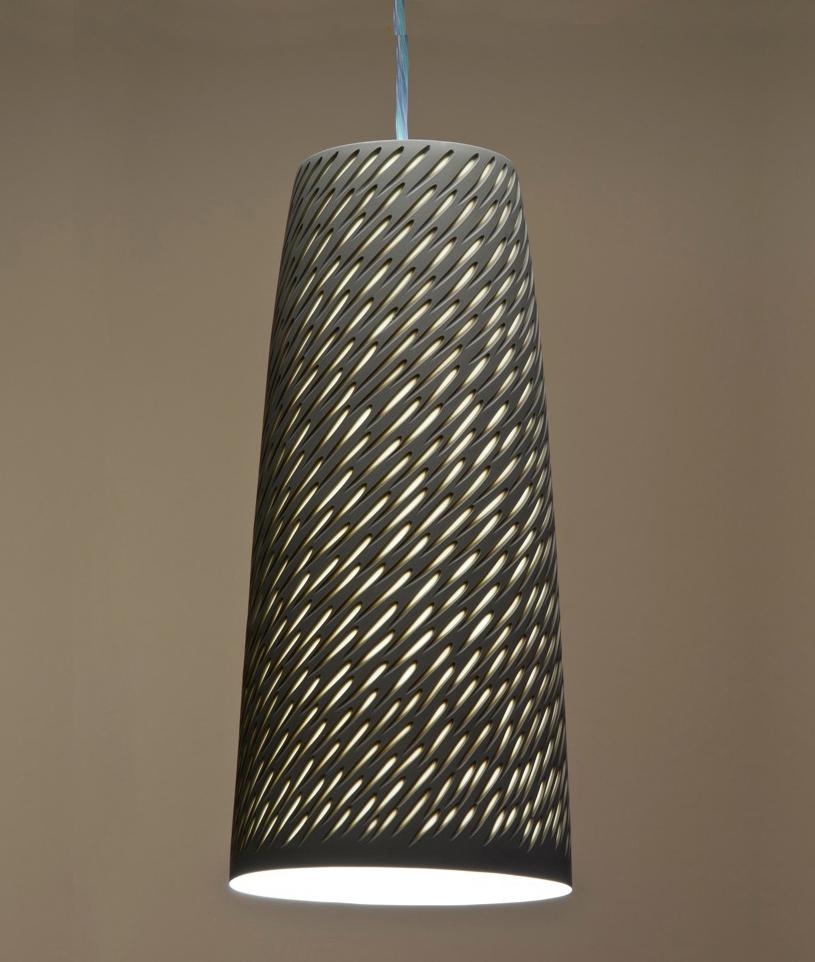 Large Sepia Taupe 'Shoal' Drop Pendant - 35 cm h