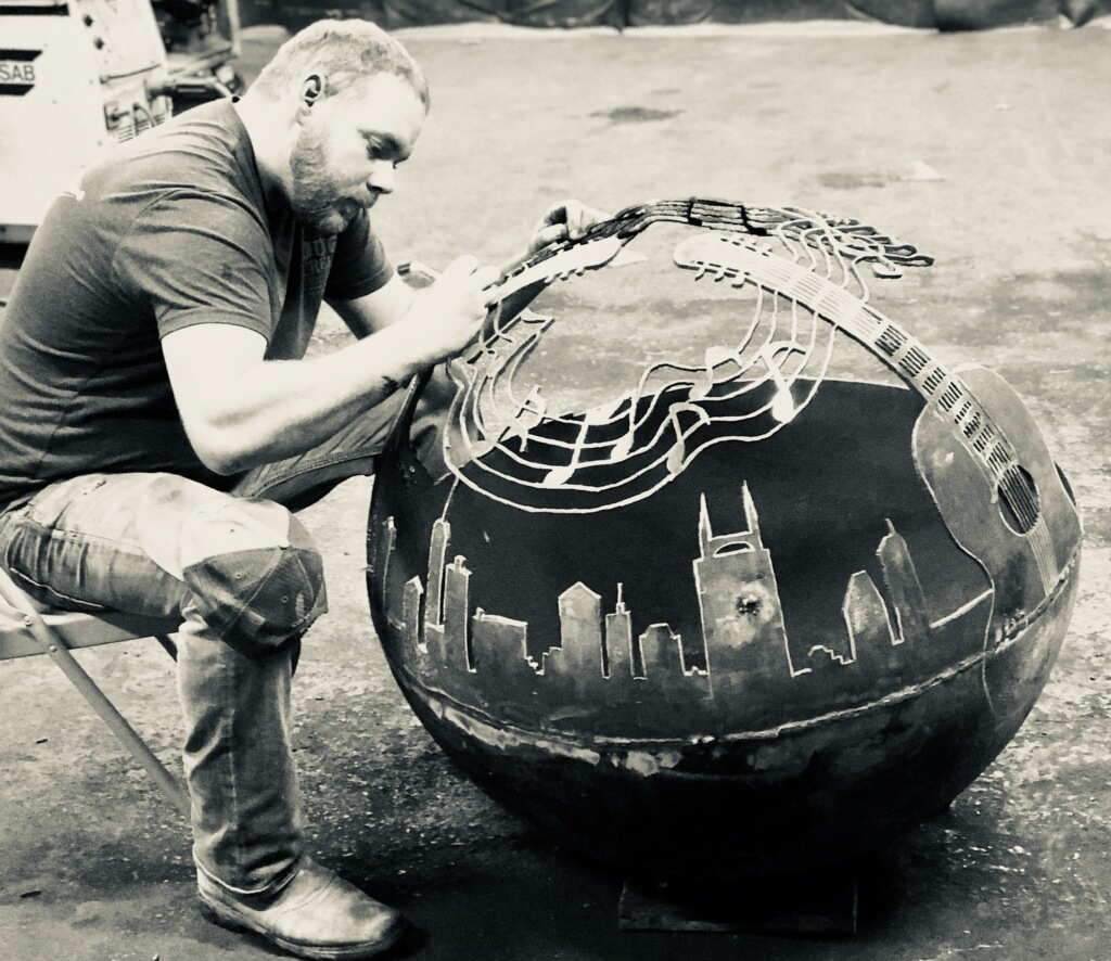 David Mann Working on Music City Fire Pit B&W.jpg