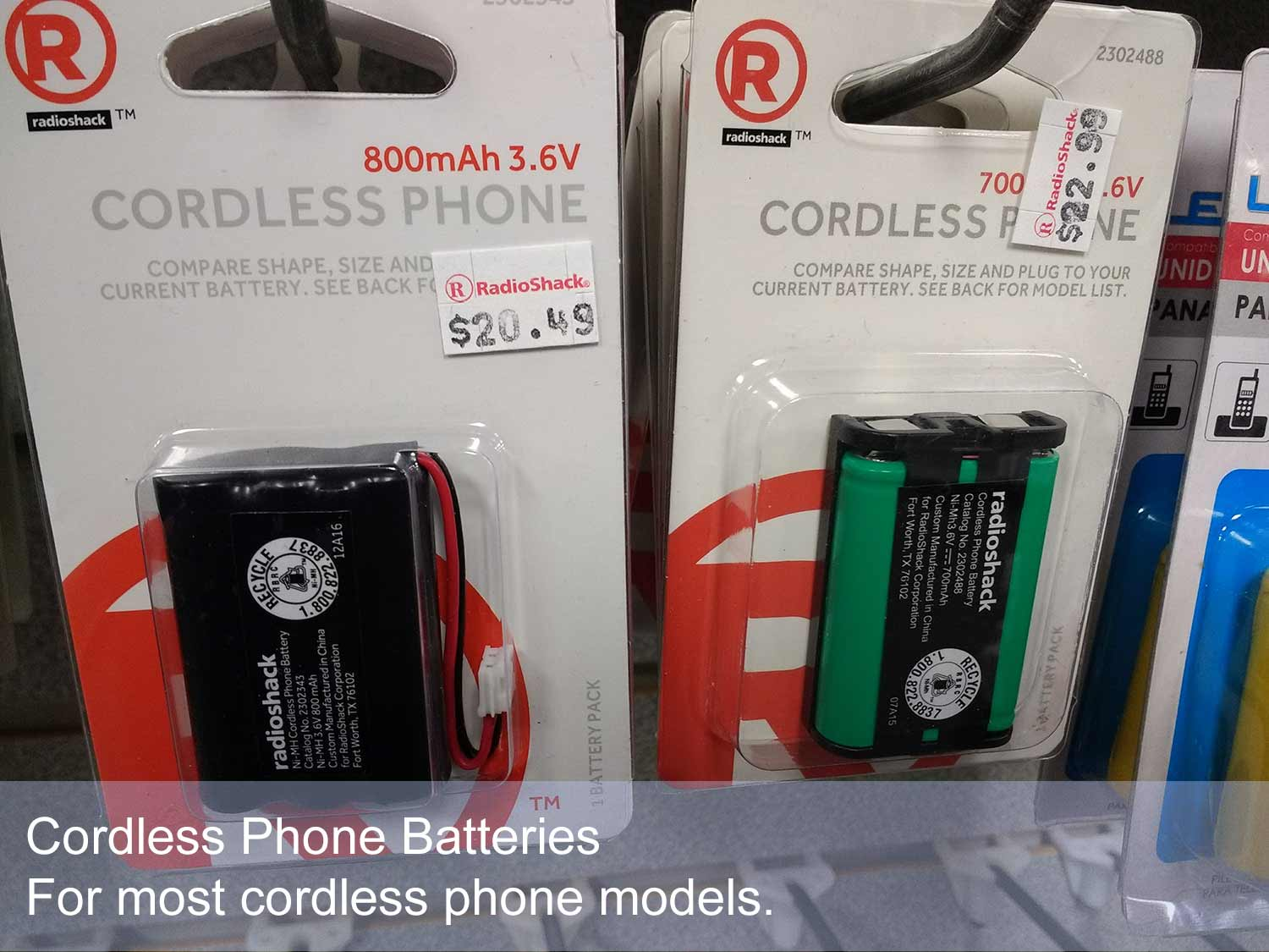 Our battery selection for cordless phones powers most models.